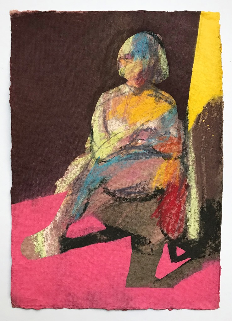 'Nude on dark pink with yellow wall', 2018, pastel, charcoal and spray can on paper, 30 x 21cm, SOLD