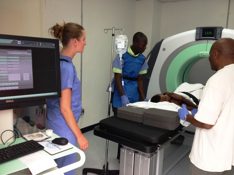 The first CT scan done at the hospital.