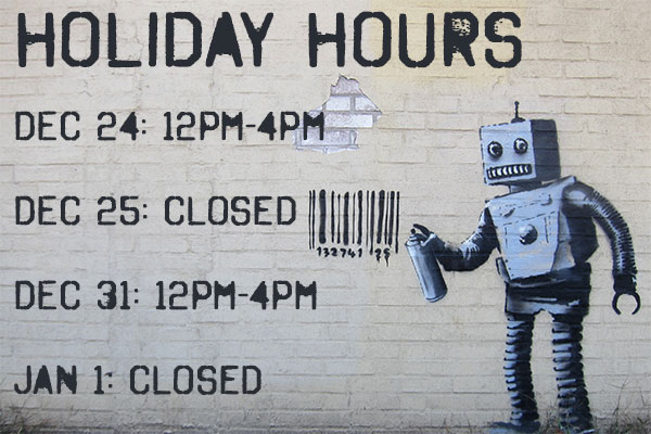 We will be open limited hours on Christmas Eve, and New Years Eve, and closed on Christmas, and New Years. But every other day will be normal hours so come down and see us!