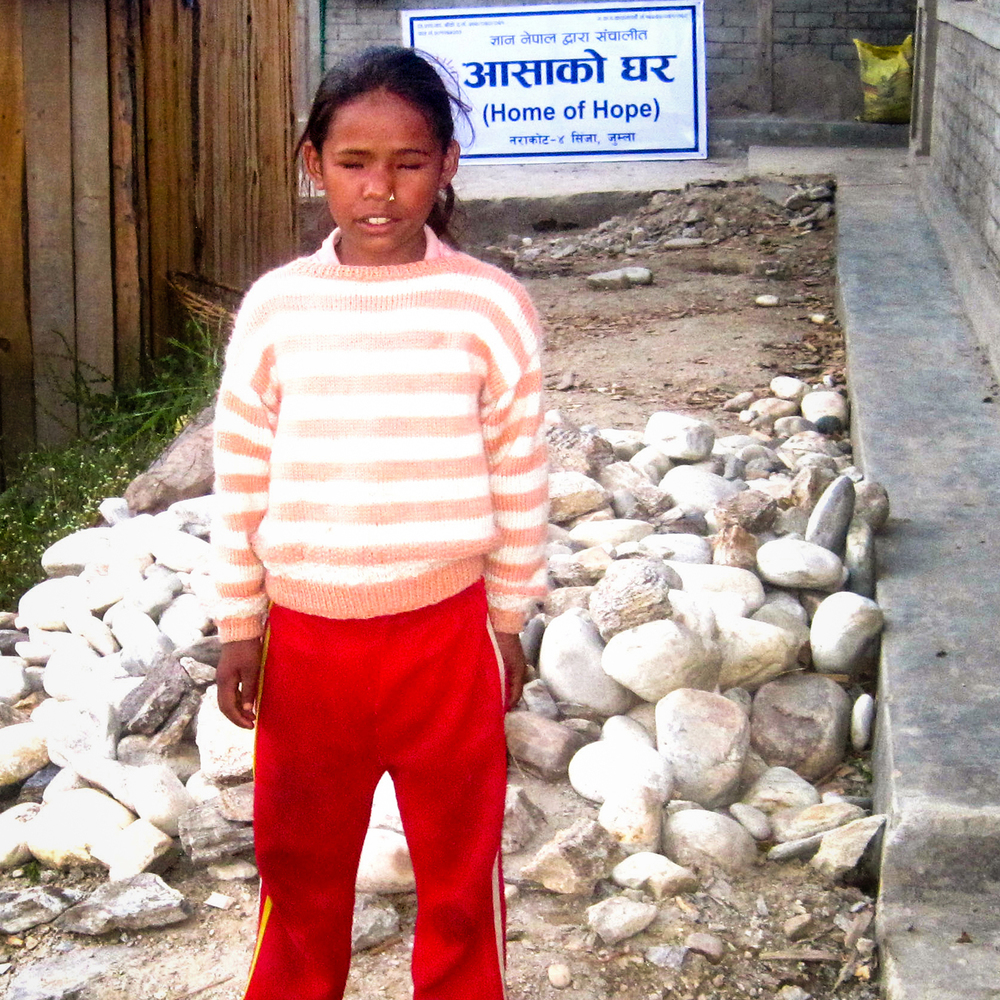 Laxmi Rawat is nine years old and studies in grade four. She was born blind. Laxmi told us that her life would be hopeless without help from the Jumla Project.