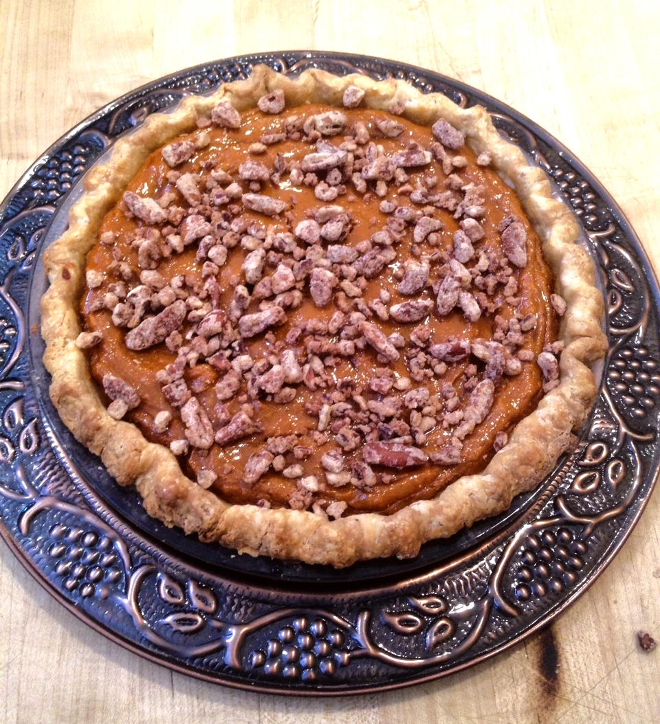 Sweet Potato Pie with Bourbon-Maple Glaze and Candied Pecans