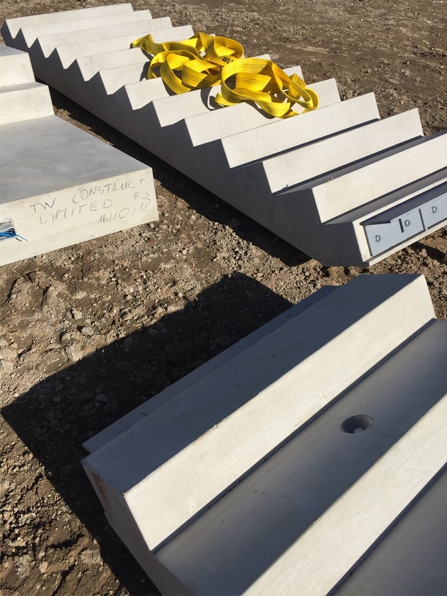 October 2018  Pre-cast concrete staircases for our Hounslow apartments, in the crisp Autumn sunshine.   Link to project