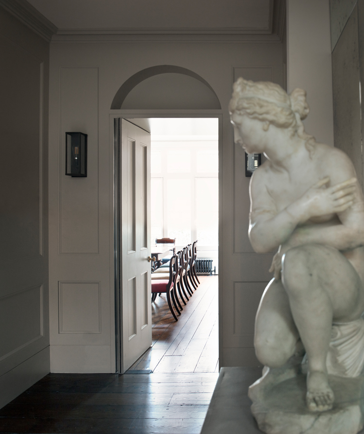 December 2018  The remodelled entrance hall of our recently refurbished villa for an art dealer. The interconnected spaces are defined by new panelling and a Soanian niche announces the entrance to the study.   Link to project