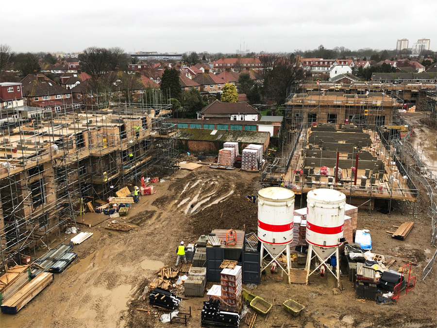 February 2019  Good progress on site for our apartment building and housing in Hounslow. On the right of this photo you can see four of the emerging two bed houses that are designed for wheelchair access.   Link to the project