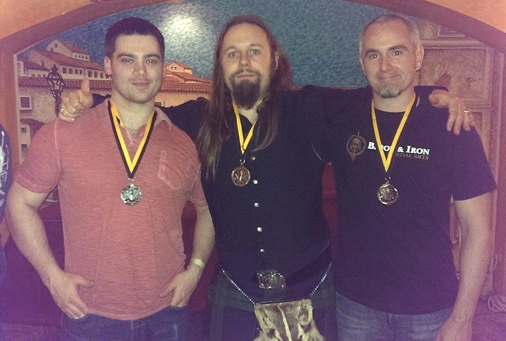 Blood & Iron Martial Arts swept the Sword & Buckler Tournament. Right to left, Jessee Tucker, Coach Less SMith, and Steve Wittman. Photo by RJ McKeehan.
