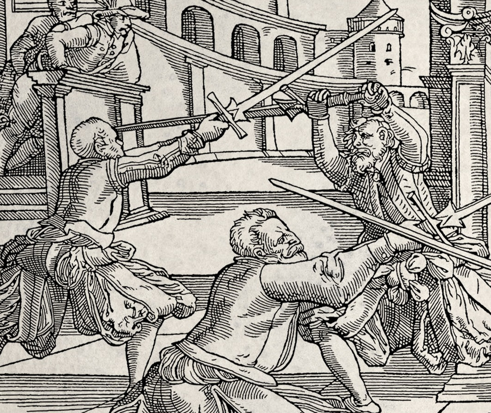 Illustration of the rising Zwerch from Joachim Meyer (1570, longsword image H, Heidi Zimmerman/Draupnir Press)