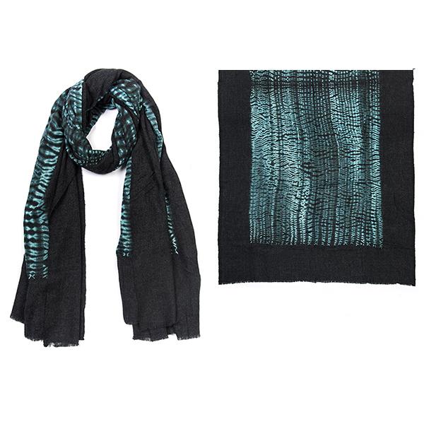"""004-015-GR SHIBORI BLANKET SCARF GREY  100% Fine Wool;Hand-Dyed;45"""" X 87"""""""