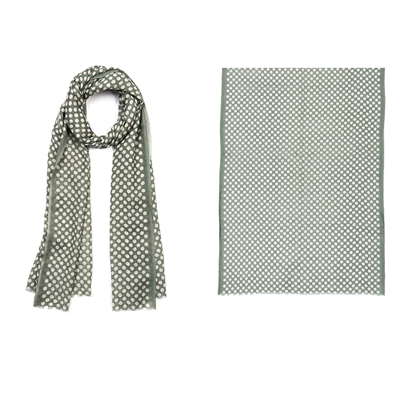 "004-013-SG   DOTTY SCARF SAGE 100% Wool; 20"" X 71"""