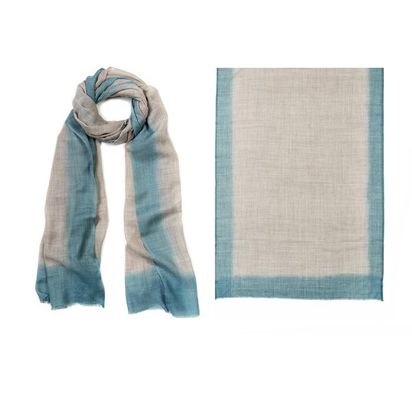 "001-010-BL  ROTHKO SCARF PLACID BLUE   92% Wool, 8% Silk; Hand-Dyed; 27.5"" X 75"""