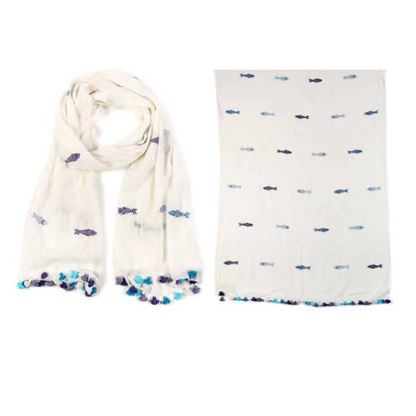 "006-026  PESCADERO SCARF  100% Cotton;Handwoven;27.5"" X 71"""