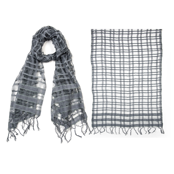 "002-025   SHEER PLAID SCARF 85% Cotton, 15% Silk; Handwoven; 21.5"" X 71"""
