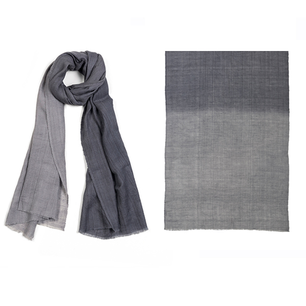 "011-005-GR   DIP-DYE SCARF GREY  100% Cashmere; Handwoven; Hand-Dyed;  39.5"" X 79"""