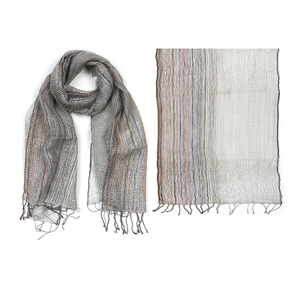 "002-016-WT  K  YOTO SCARF  50% Wool, 50% Silk;Handwoven;20"" X 71"""