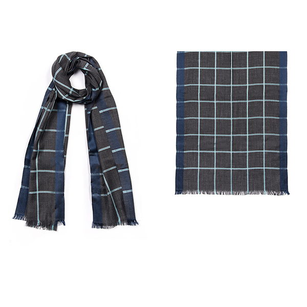 "001-039-BL   CHECK SCARF BLUE 50% Wool, 50% Silk; 20"" X 71"""
