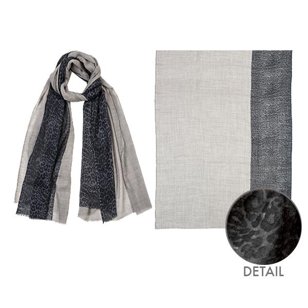 """001-046-GR  LUCKY LEOPARD SCARF GRAY 100% Wool;39.5"""" X 79"""""""