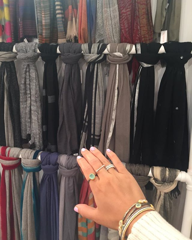Gimmie more fall scarves! #scarf wall @ny_now booth #8721 featuring Raj #bangles #handwoven #handdyed #cashmere #natural fiber #artisan #pazcollective #sterlingsilver #18kgoldplated