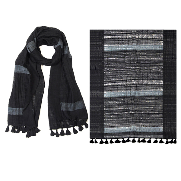 "002-029   TIMELESS STRIPES SCARF 100% Wool; Handwoven;18"" X 74"""
