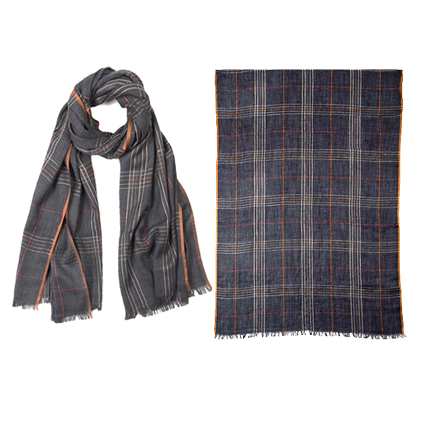 "001-051   LONDON PLAID SCARF 92% Wool, 8% Silk; 27.5"" X 71"""