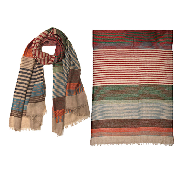"001-052   SIERRAS STRIPES SCARF !00% Wool; 27.5"" X 71"""