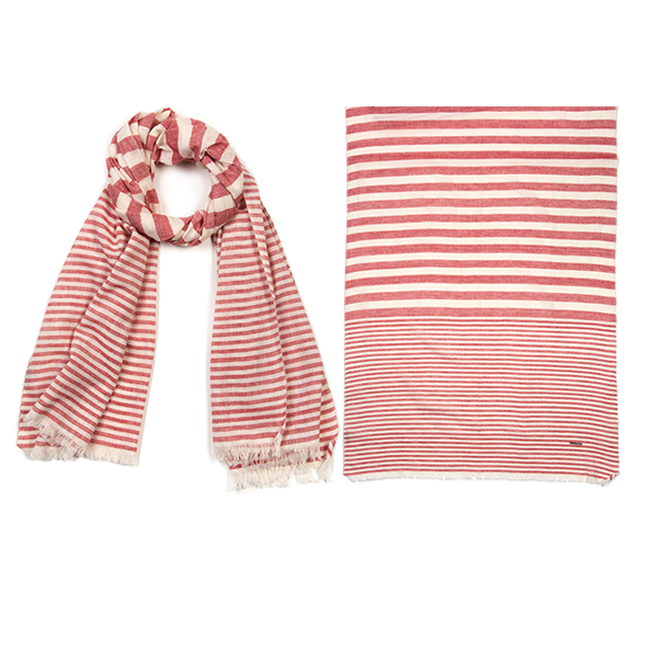 "006-027-RD   KHADI STRIPES SCARF RED    100% Cotton; Handwoven; 24"" X 71"""