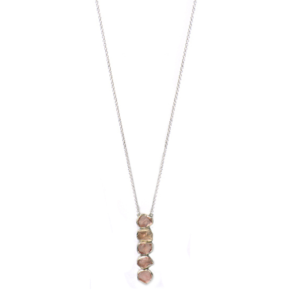 SJ141     QUINTA NECKLACE      Rose Quartz;   Kaotica Finish   NOTE: Stone quantity may differ making each piece a one-of-a-kind treasure.