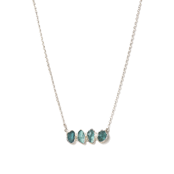 SJ145-AP   RIVERBED NECKLACE    Apatite;   Kaotica Finish   NOTE: Stone quantity may differ making each piece a one-of-a-kind treasure.
