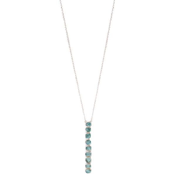 "SJ140-AP   PEBLITA NECKLACE          Apatite;   Kaotica Finish;   34"" Chain   NOTE: Stone quantity may differ making each piece a one-of-a-kind treasure."