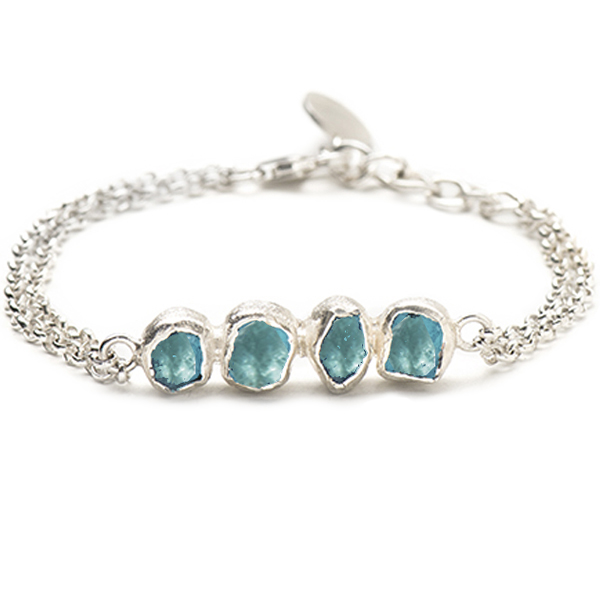 SJ152-AP   RIVERBED BRACELET       Available in Apatite (pictured) or Aquamarine;   Kaotica Finish