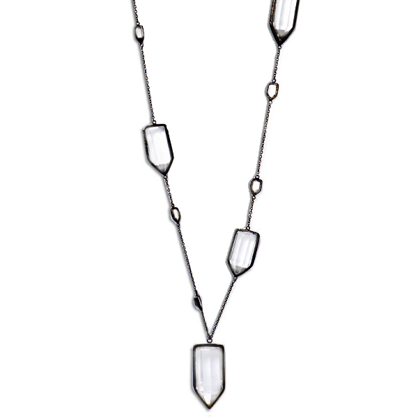 "ME010RHO   CHUNK NECKLACE    Crystal Quartz; Black Rhodium Plate over Sterling Silver; High Polish Finish; 36"" Long"