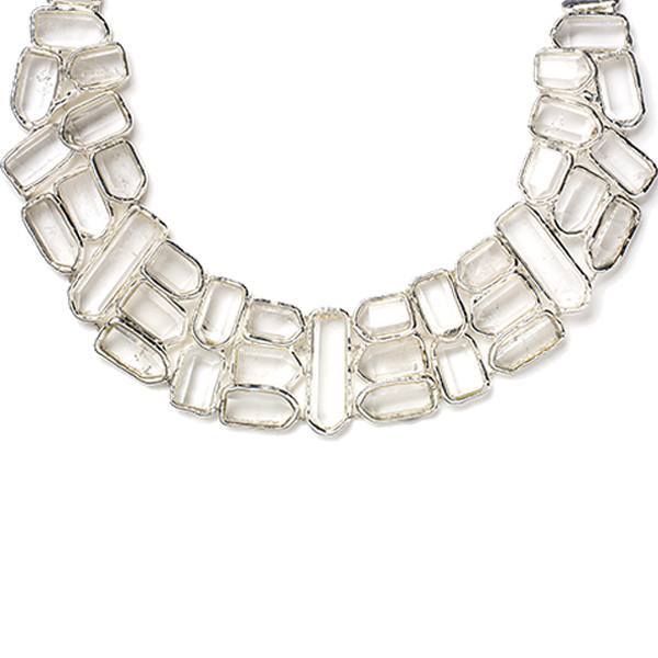 ME038SS FROZEN NECKLACE    Available in Crystal Quartz (pictured), Aqua Chalcedony, or Black Onyx;  High Polish Finish
