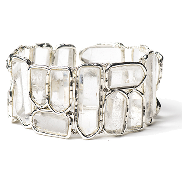 ME039SS   FROZEN BRACELET Available in Crystal Quartz (pictured), Aqua Chalcedony, or Black Onyx;  High Polish Finish
