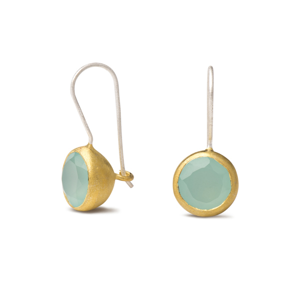 AB189   PLINKY EARRINGS    Available in Aqua Chalcedony (pictured), Labradorite, or Pink Chalcedony; 18K Gold Plate over Sterling Silver; Satin Finish