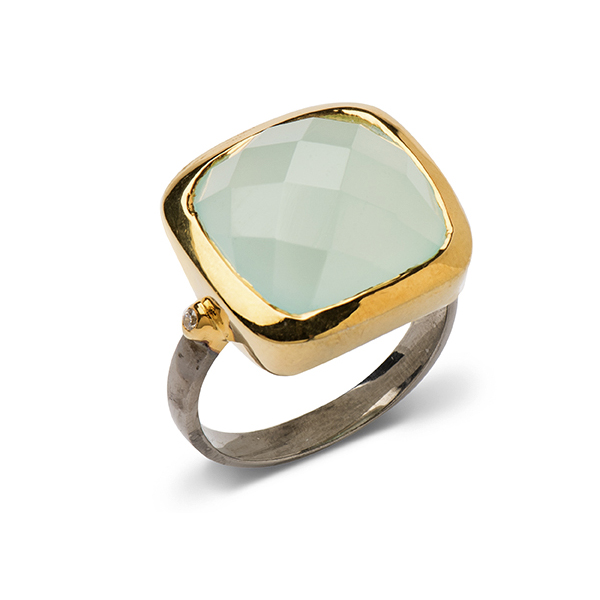 AB312-AC   PRINCESS JASMINE RING    Aqua Chalcedony; Black Rhodium and 18K Gold Plate over Sterling Silver; High Polish Finish