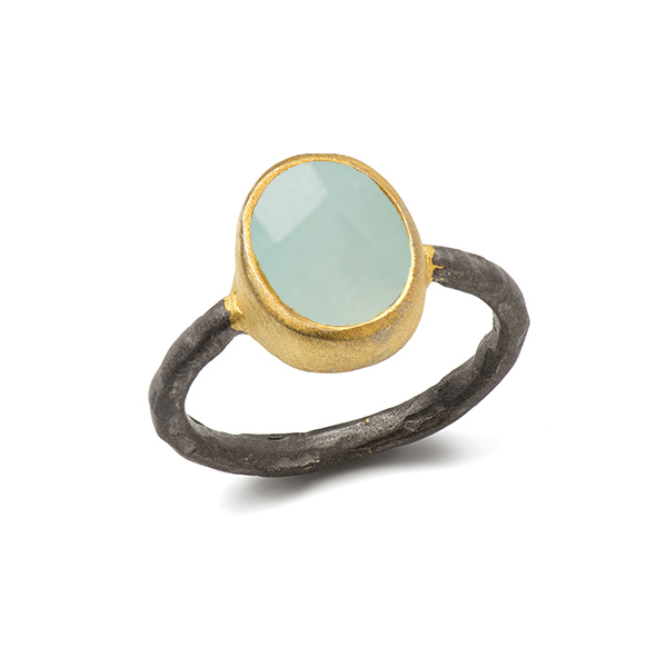 AB140   EGYPT RING    Available in Aqua Chalcedony (pictured) or Labradorite, Smoky Topaz, Rainbow Moonstone; Black Rhodium and 18K Gold Plate over Sterling Silver; Satin Finish