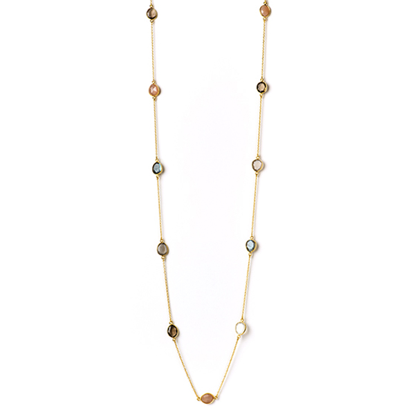 "VG934   SIERRA VISTA NECKLACE    Labradorite, Peach Moonstone, Smoky Topaz, White Moonstone; 18K Gold Plate over Sterling Silver; High Polish Finish; 40"" Long"