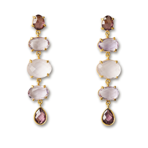 VG471GP-AM   WILLA EARRINGS   Pink Amethyst, Rose Quartz, Rhodolite CZ;  18K Gold Plate over Sterling Silver; High Polish Finish
