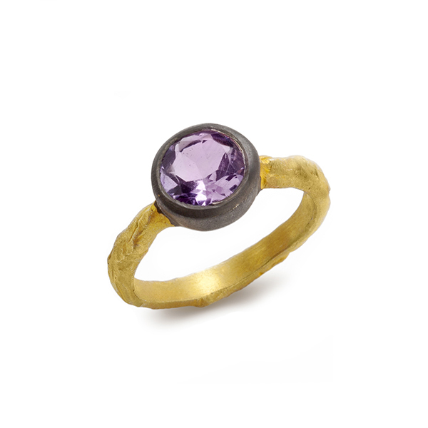 AB141   REVERSE EGYPT RING         Available in Amethyst (pictured), Aqua Chalcedony, or Labradorite; 18K Gold and Black Rhodium Plate over Sterling Silver; Satin Finish