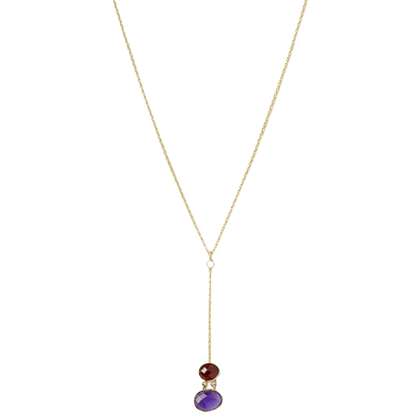 JT016GP   MILLICENT NECKLACE       Available in Garnet/Amethyst (pictured) or Labradorite; 18K Gold Plate over Sterling Silver; High Polish Finish