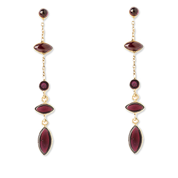 VG991GP-GA   HOLI DANGLES EARRINGS    Garnet; 18K Gold Plate over Sterling Silver; High Polish Finish