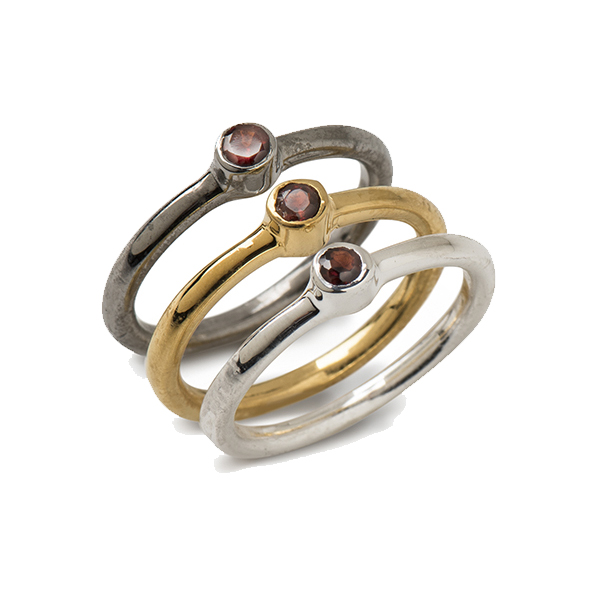 AB314   TAMSIN RINGS       Garnet; Black Rhodium and 18K Gold Plate over Sterling Silver; High Polish Finish; Set of 3