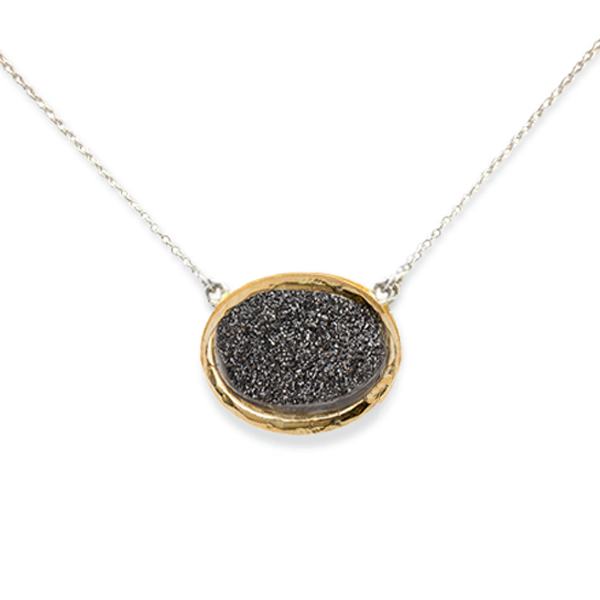 AB330   DREAMSICLE NECKLACE    Black Druzy; 18K Gold Plate over Sterling Silver; High Polish Finish