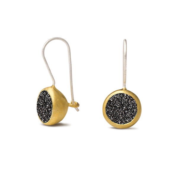 AB331 PLINKY EARRINGS    Black Druzy; 18K Gold Plate over Sterling Silver; High Polish Finish