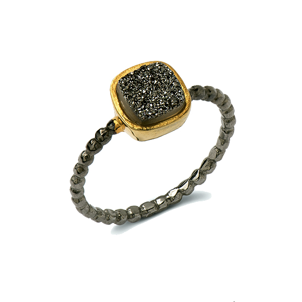 AB309-BDZ   BEADED BAND RING      Black Druzy;  Black Rhodium and 18K Gold Plate over Sterling Silver; High Polish Finish