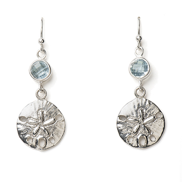 VG433-BT    MUNECA DROP EARRINGS    Blue Topaz; High Polish Finish