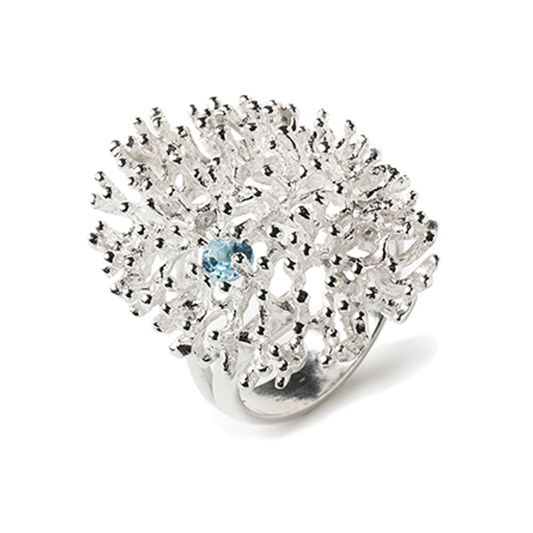 VG428-BT   CORAL REEF RING       Blue Topaz;   High Polish Finish
