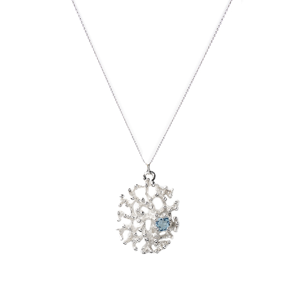 VG686   CORAL REEF NECKLACE          Blue Topaz;   High Polish Finish