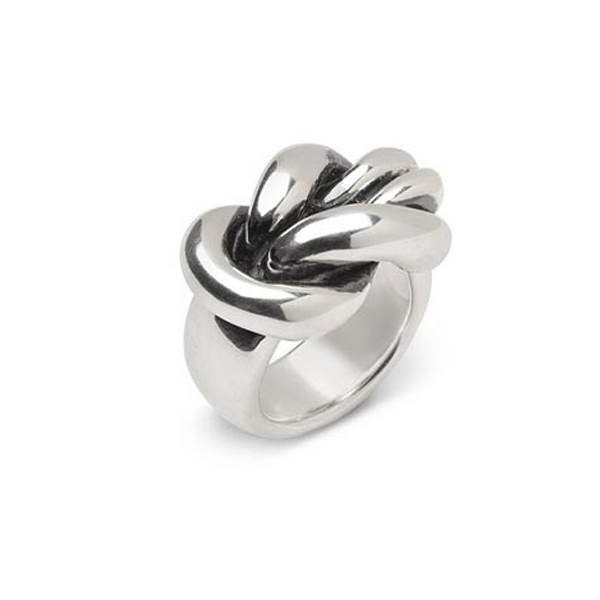 JO014   NAUTICAL KNOT RING       Oxidized, High Polish Finish