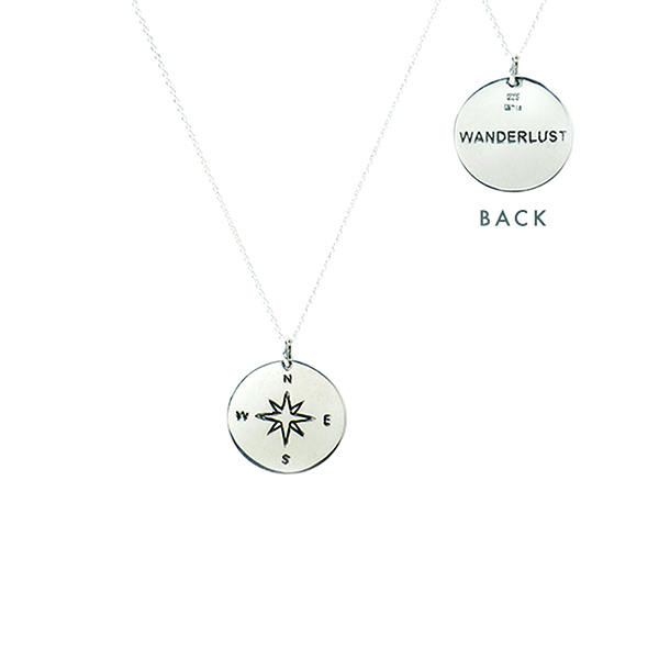 VG670   WANDERLUST COMPASS NECKLACE     Oxidized, High Polish Finish