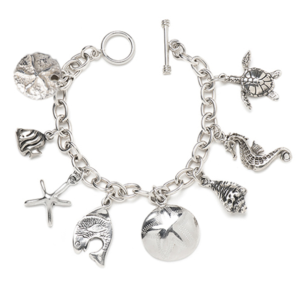 CBB031   SEA LIFE CHARM BRACELET      Oxidized, High Polish Finish