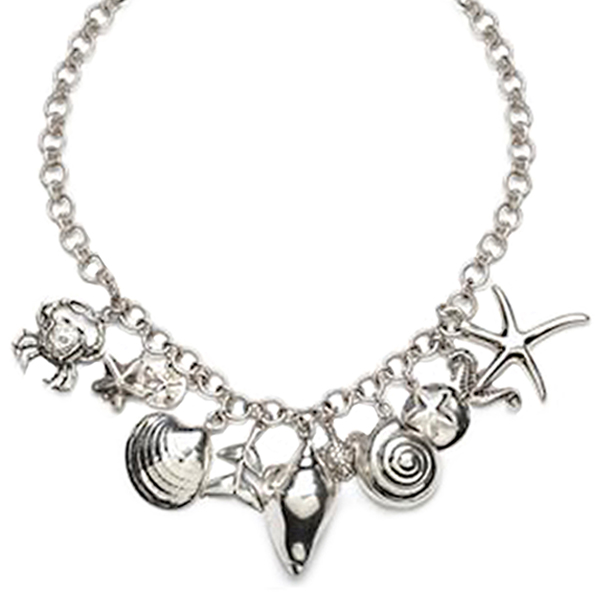 CBN016  ARIEL CHARM NECKLACE      Oxidized, High Polish Finish